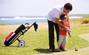 golfer with child benefit from chiropractic